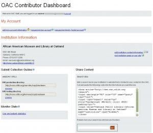 OAC Contributor Dashboard screen shot
