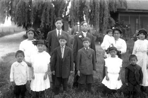 Chinese American family in their front yard in Artesia, California