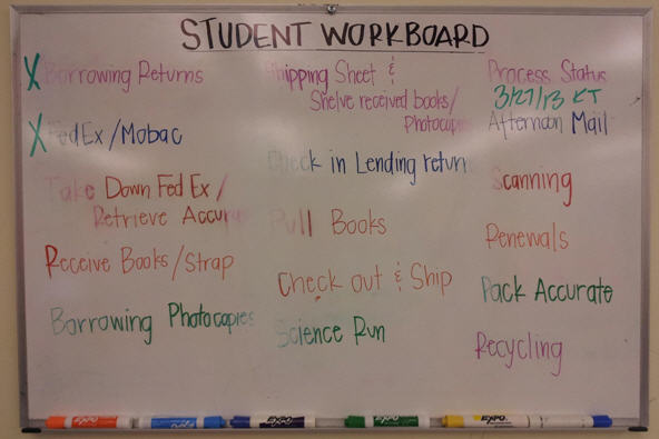 Student workboard in the morning.