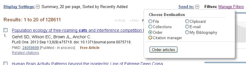 PubMed Send to Order