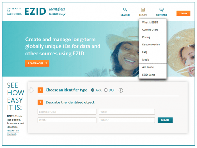 EZID home page