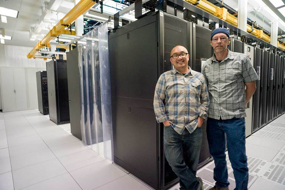 Infrastructure and Applications Support team at the UC Berkeley data center. Photo credit: Craig Thompson.