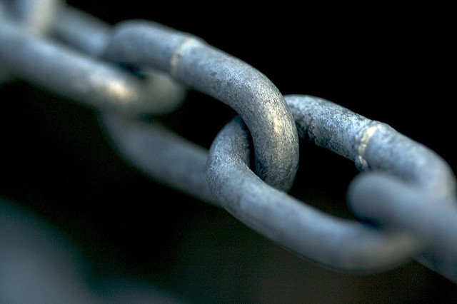 Close-up of a link in a chain