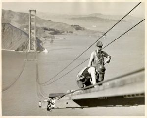 Image / [Two construction workers on the Golden Gate Bridge]