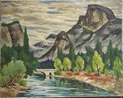 Painting of a river and Half Dome mountain.