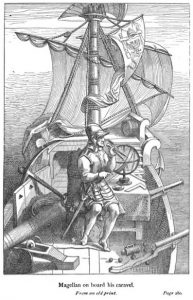 Print of Magellan on board his caravel