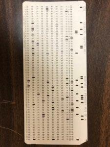 ASU library punch card (back)