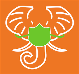 HathiTrust elephant logo wearing mask