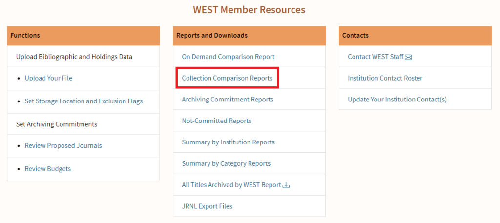 AGUA Dashboard with location of Collection Comparison Reports link highlighted