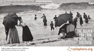 B.F. Conaway photograph of beach goers at Newport Beach, 1889
