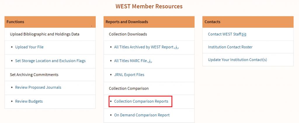 AGUA Collection Comparison Reports